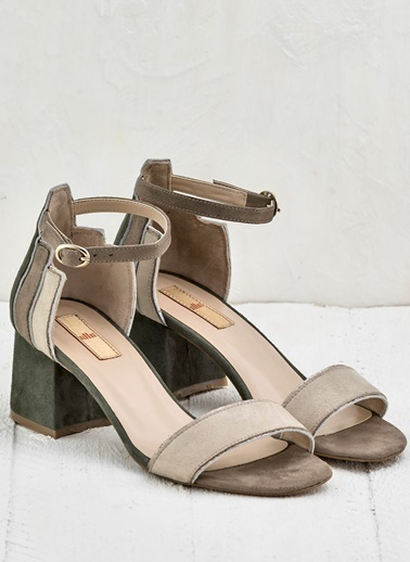 Elle Kalın Topuklu Ayakkabı Bej